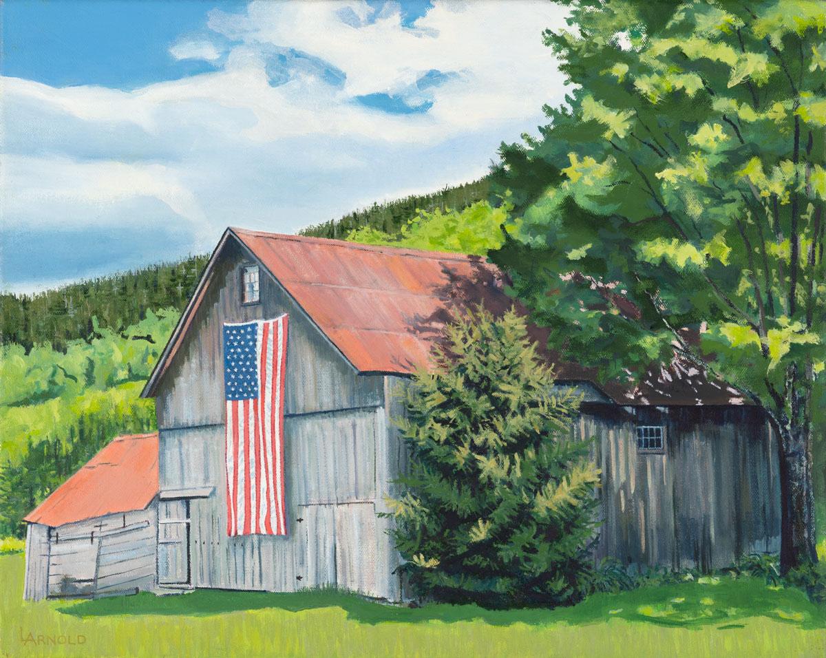 Barn with Flag 16 x 20