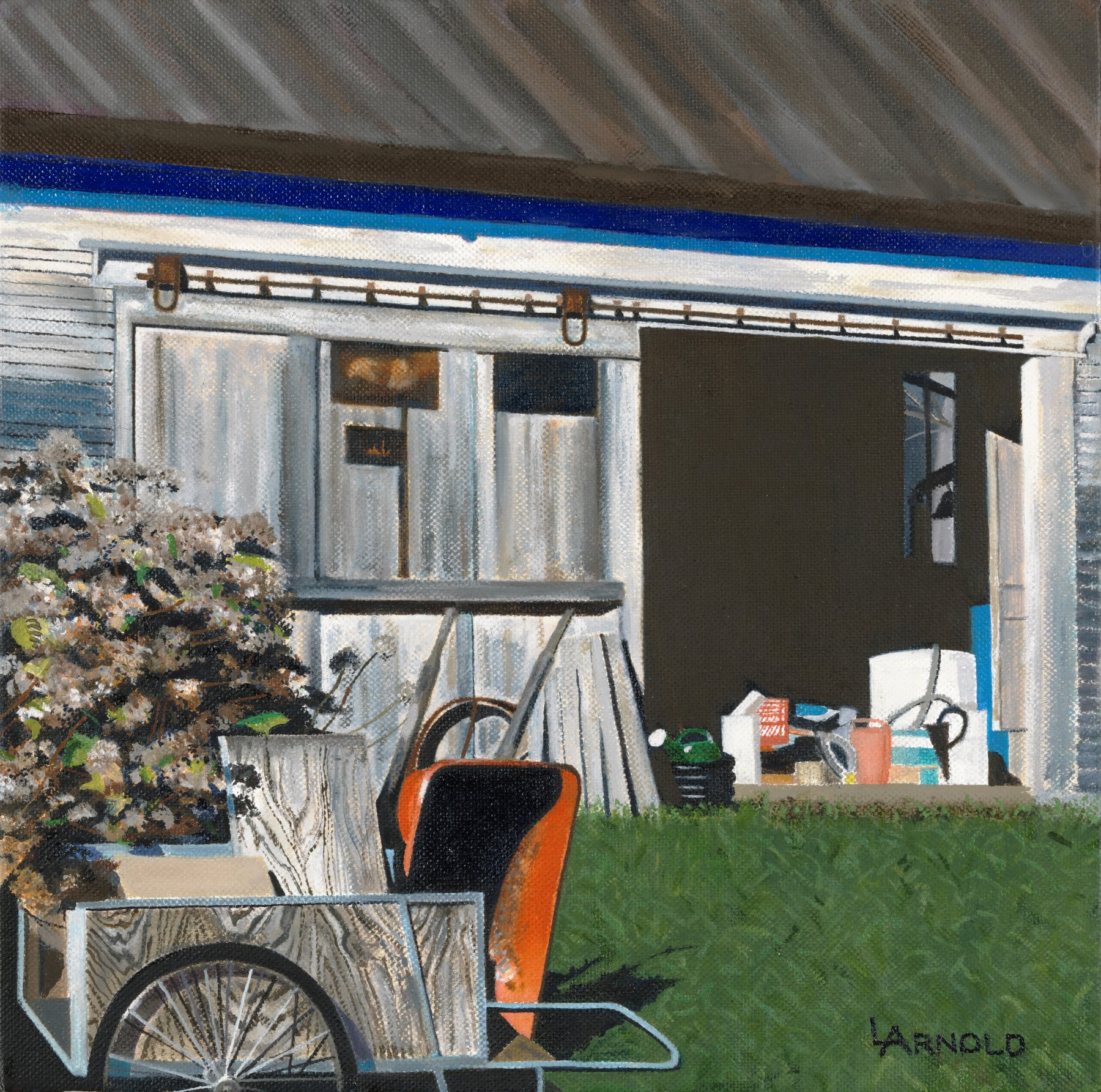 Barnyard With Wheelbarrow, 12x12