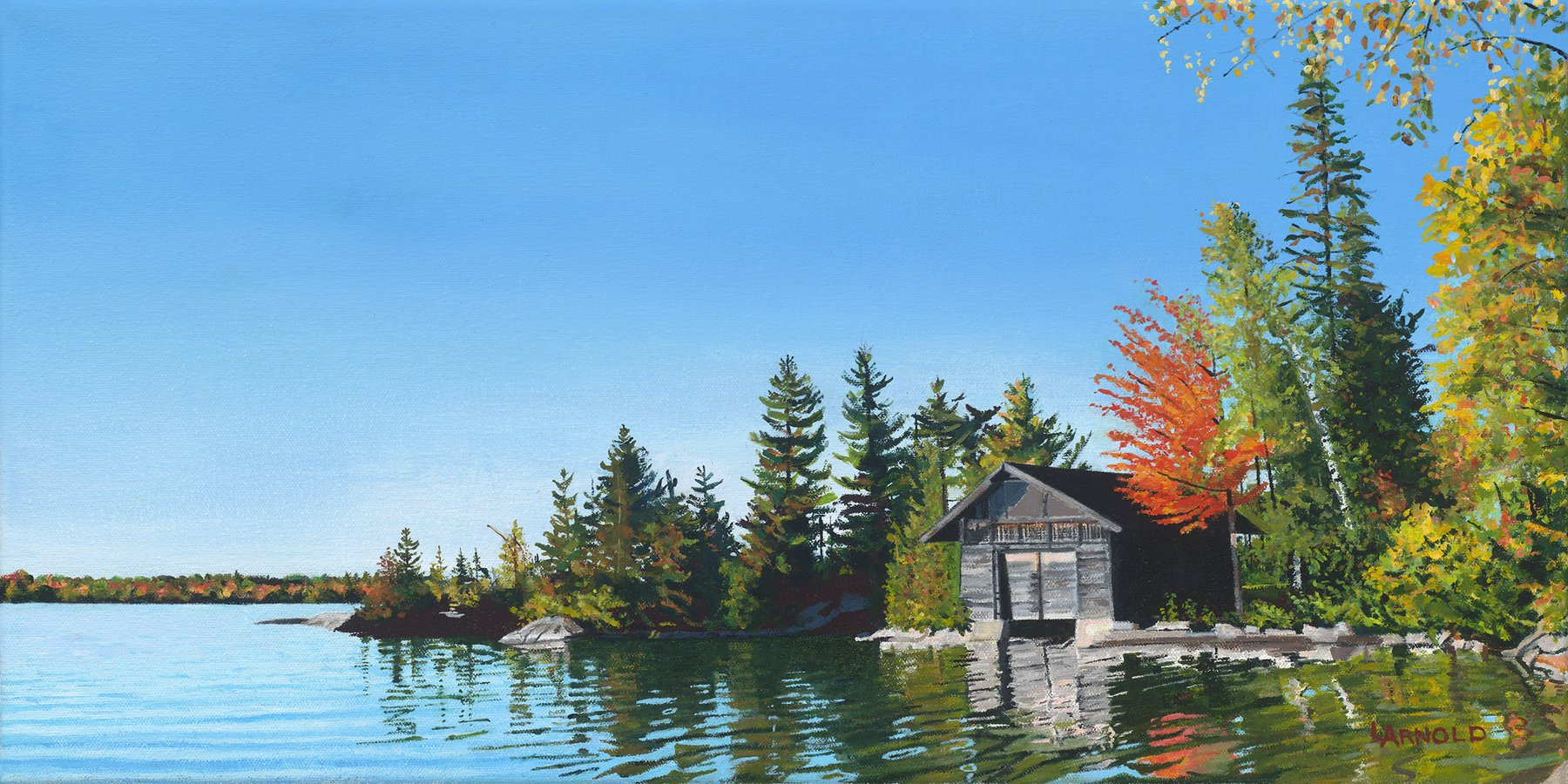 Boat House Caspian Lake, 12x24