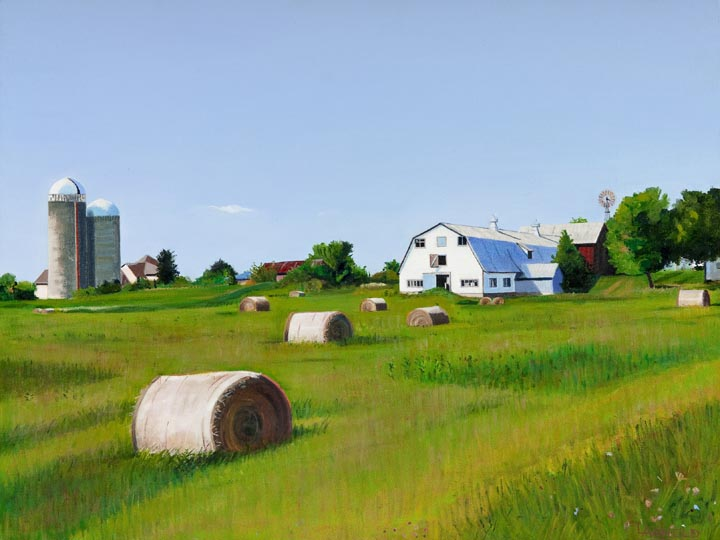 Farm With Hay Bales