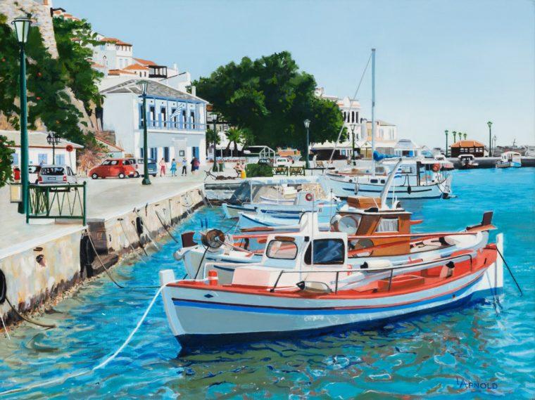 Harbour At Skopelos, Greece, 18 X 24