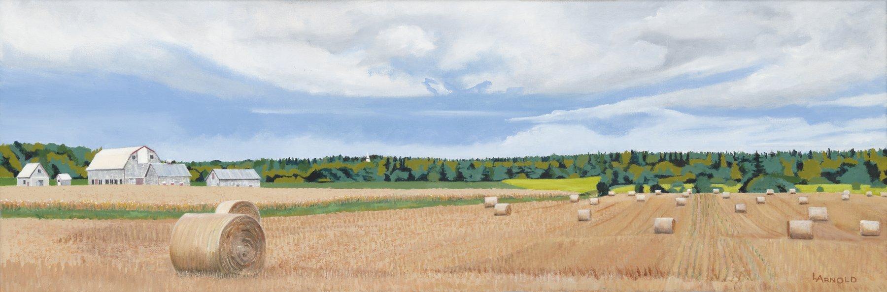 PEI Farm With Hay Bales